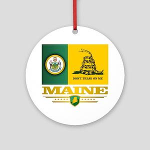 Maine Gadsden Flag Round Ornament