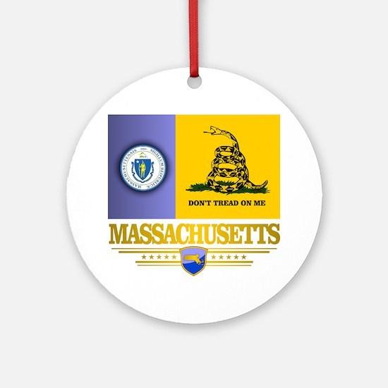 Massachusetts Gadsden Flag Round Ornament