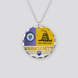 Massachusetts Gadsden Flag Necklace Circle Charm