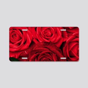 Red Roses Floral Aluminum License Plate