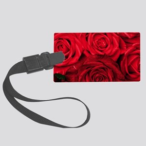 Red Roses Floral Large Luggage Tag