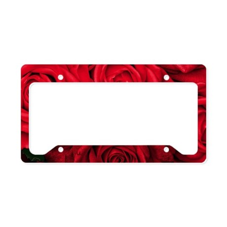 Red Roses Floral License Plate Holder