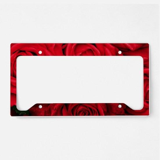 Red Roses Floral License Plate Holder