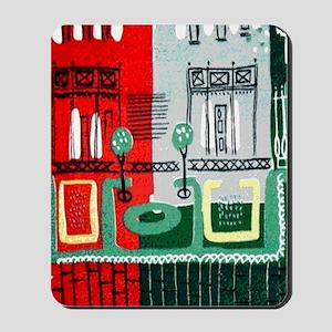 Vintage French Cafe Barkcloth Mousepad