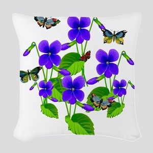 Violets and Butterflies Woven Throw Pillow
