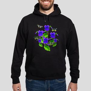 Violets and Butterflies Hoodie (dark)