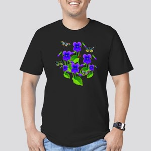 Violets and Butterflie Men's Fitted T-Shirt (dark)
