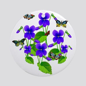Violets and Butterflies Round Ornament