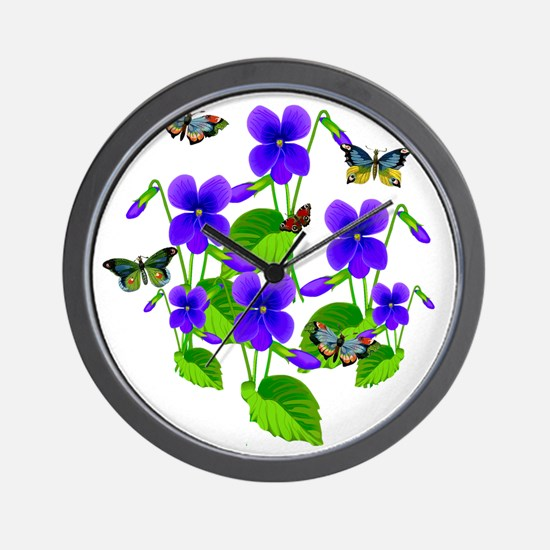 Violets and Butterflies Wall Clock