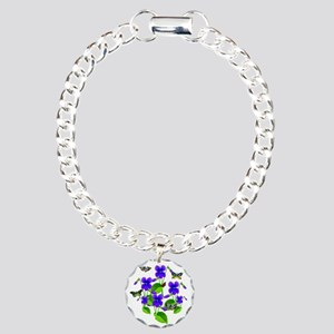 Violets and Butterflies Charm Bracelet, One Charm
