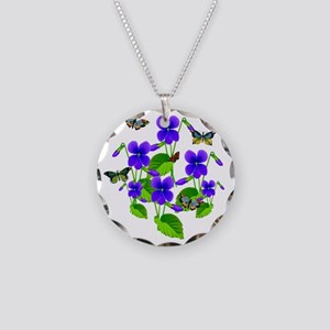 Violets and Butterflies Necklace Circle Charm