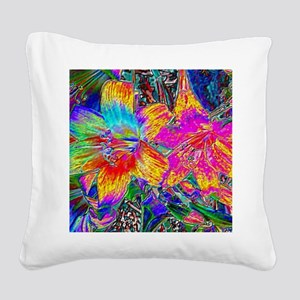 Amaryllis Lilies in Foil - Hi Square Canvas Pillow