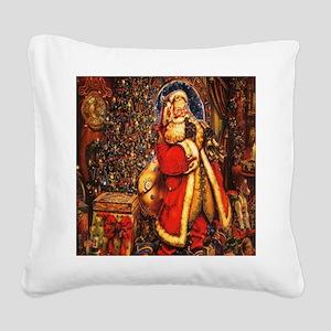 Victorian Santa Square Canvas Pillow