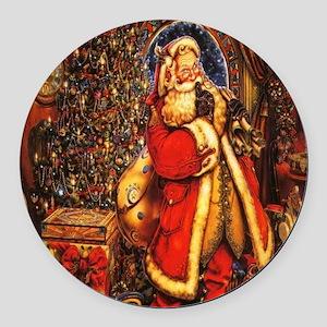 Victorian Santa Round Car Magnet