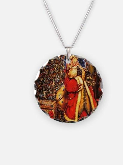 Victorian Santa Necklace Circle Charm