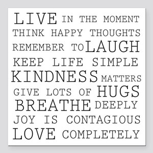 "Positive Thoughts Square Car Magnet 3"" x 3"""