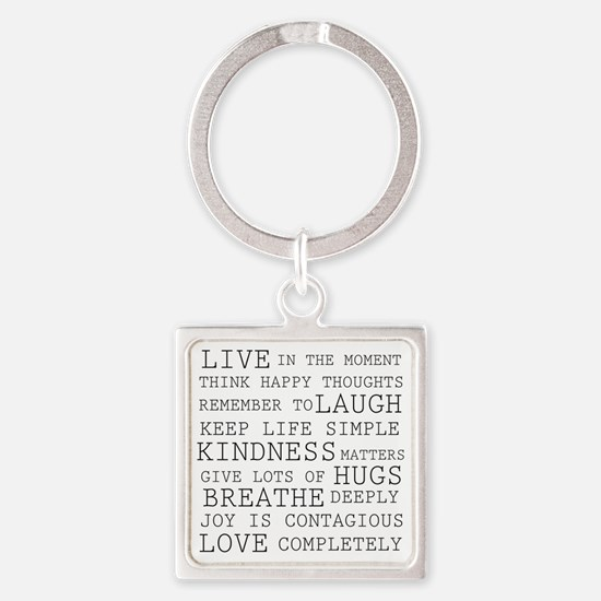 Positive Thoughts Square Keychain