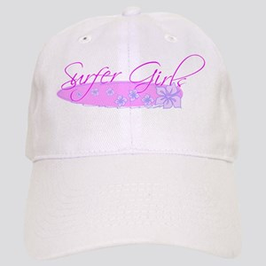 Surfer Girls with Hibiscus Flower on Surfboard Cap