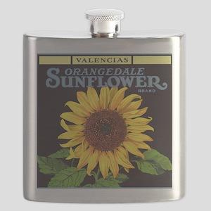 Vintage Fruit Crate Label Art, Sunflower  Flask