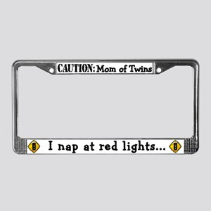 Mom of Twins Sleep @ Red Light License Plate Frame