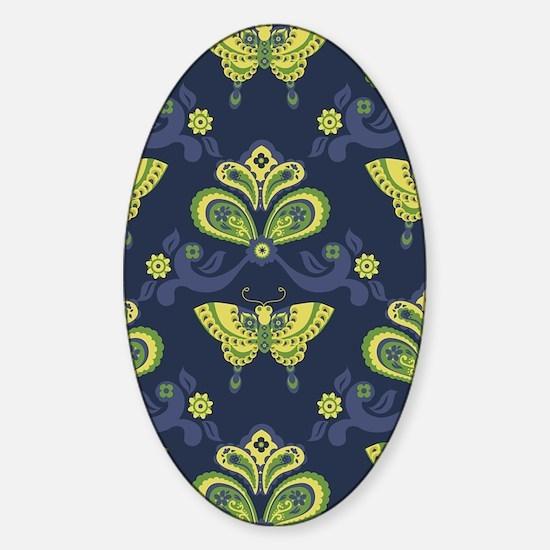 ButterflyAsian_Blue_Large Sticker (Oval)