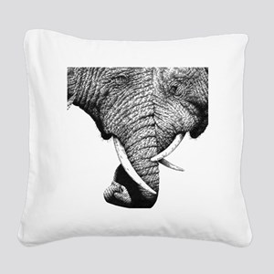 African Elephants 60 inch Cur Square Canvas Pillow