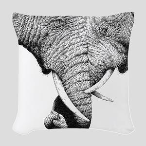 African Elephants 60 inch Curt Woven Throw Pillow