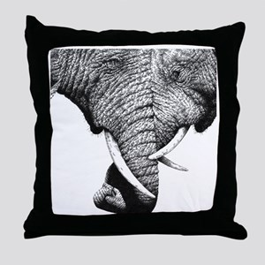 African Elephants 60 inch Curtains Throw Pillow