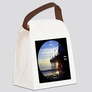 clock 2h2jtymp santa monica pier Canvas Lunch Bag