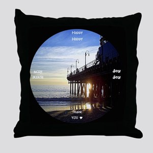 clock 2h2jtymp santa monica pier Throw Pillow