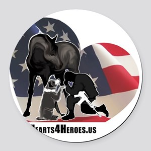 Hearts4Heroes Round Car Magnet