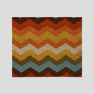 Southwestern Burlap Chevron Zigzags Throw Blanket