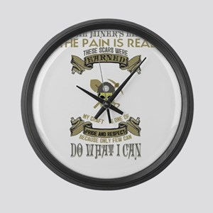 Coal Miner Accessories Large Wall Clock