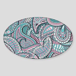 Pink Blue Paisley pattern Sticker (Oval)