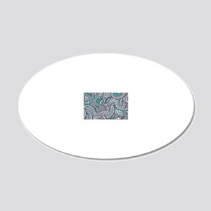 Pink Blue Paisley pattern 20x12 Oval Wall Decal