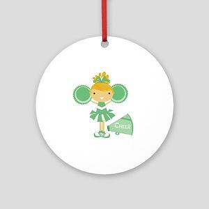 Cheerleader in Green Round Ornament