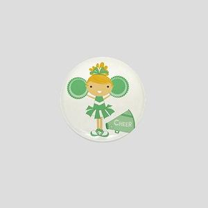 Cheerleader in Green Mini Button