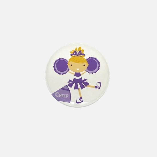 Cheerleader in Purple Mini Button