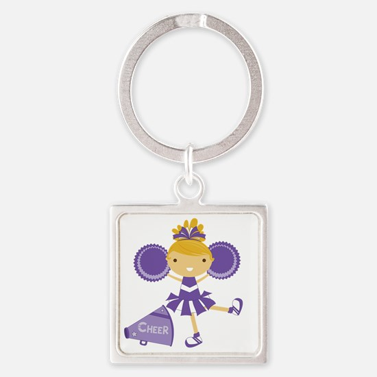 Cheerleader in Purple Square Keychain