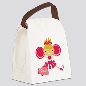 Cheerleader in Hot Pink Canvas Lunch Bag