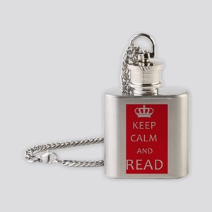 Keep Calm and READ Flask Necklace