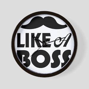 Mustache Like A Boss Wall Clock