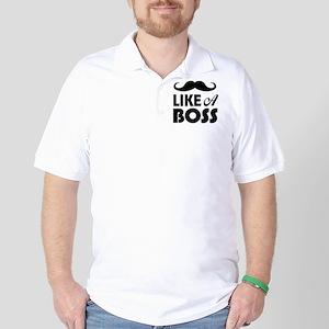 Mustache Like A Boss Golf Shirt