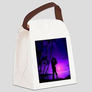 Romance on the Beach - Blue Canvas Lunch Bag