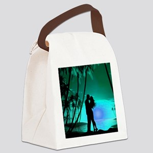 Romance on the Beach - Green Canvas Lunch Bag