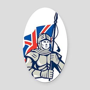 Knight British Flag Retro Oval Car Magnet
