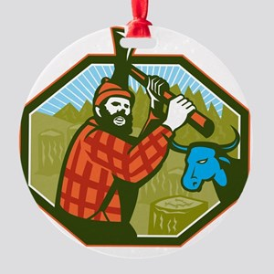 Paul Bunyan LumberJack Axe Blue Ox Round Ornament