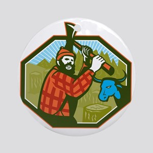 Paul Bunyan LumberJack Axe Blue Ox Round Ornament