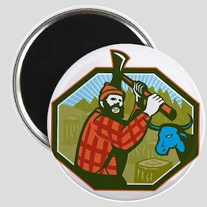 Paul Bunyan LumberJack Axe Blue Ox Magnet