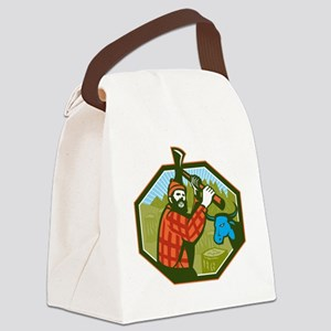 Paul Bunyan LumberJack Axe Blue O Canvas Lunch Bag